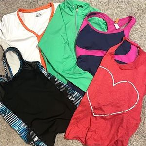Sporty bundle of 5 tops. All size Medium.